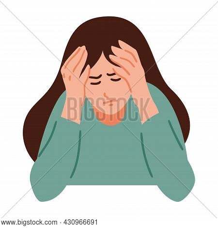 A Woman Is Having A Headache. Girl Feels Anxiety And Depression. Psychological Health Concept. Nervo