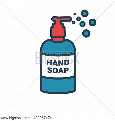 Disinfectant Flat Icon. Liquid Soap In Plastic Pump Bottle. Washing Hands With Soap. Hygiene Product