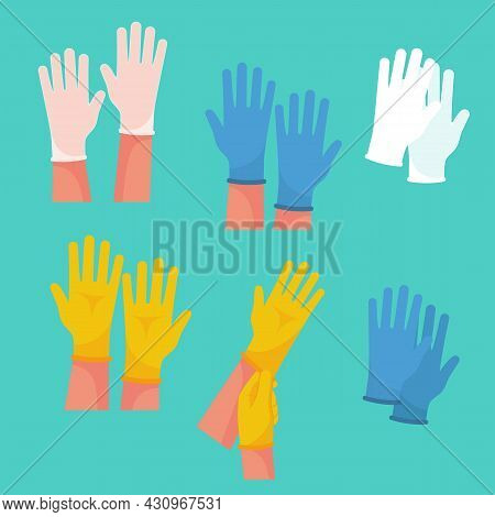 Set Of Rubber Medical Protective Gloves. Yellow Blue And Translucent Latex Gloves. Medical Professio