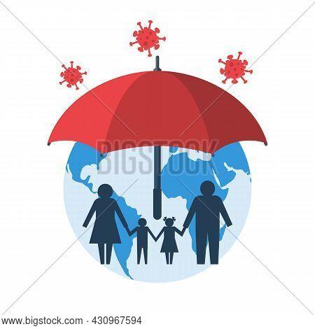 Protecting Coronavirus Concept. Umbrella As A Symbol Of Protection Against Coronavirus Covid-19. Med