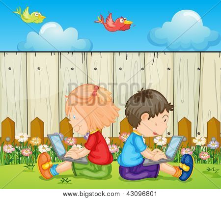 Illustration of kids with laptops