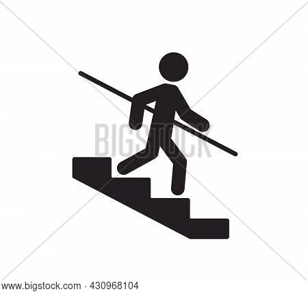 A Man Goes Down The Stairs And Holds On To The Handrail. Caution Stairway Use Handrails Symbol. Icon