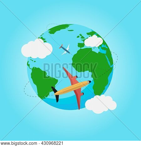 Passenger Plane Flying Around The Globe. Planet Earth. Plane. Around The World Travelling By Plane,