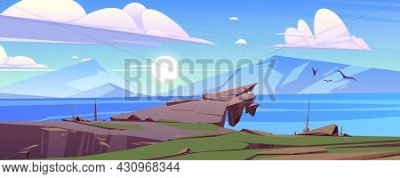 Calm Landscape With Mountains And Lake In Morning. Vector Cartoon Illustration Of Nature Scene With
