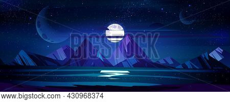 Night Ocean Landscape, Full Moon And Stars Shine In Sky Above Water Surface Reflecting Starlight. Da