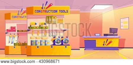 Construction Tools Store, Hardware Shop Interior With Counter Desk, Stand Or Showcase Presenting Pro