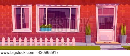 House Facade With Red Brick Wall, Window, Door And Flowers In Pots. Vector Cartoon Illustration Of R