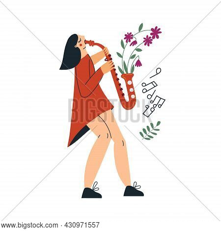 Girl Playing Saxophone Or Young Woman Musician With Gold Sax. Saxophonist Female Character With Bloo