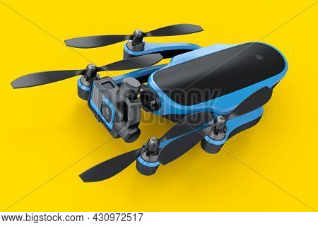 Flying Photo And Video Drone Or Quad Copter With Action Camera On Yellow