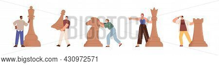 Set Of Tiny People With Chess Pieces. Business Strategy And Logics Concept. Smart Men And Women Movi