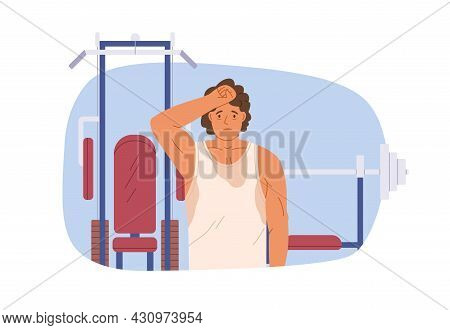 Tired Exhausted Sweated Man In Gym After Workout. Unhappy Fatigue Sweaty Person After Training. Exha