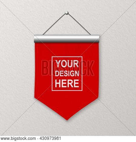 Vector 3d Realistic Blank Red Pennant Wall Hanging, Design Template, Mockup. Linen Pennant Closeup O