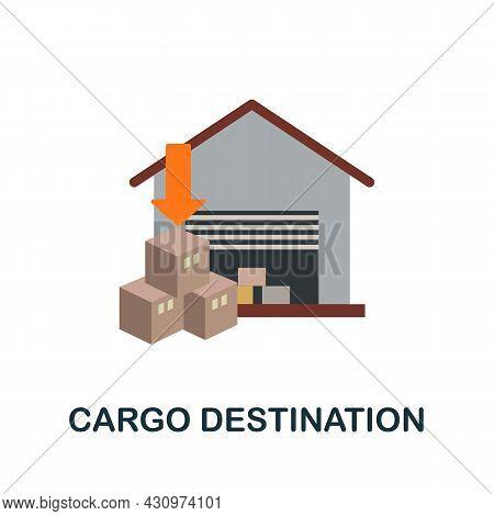 Cargo Destination Flat Icon. Simple Sign From Logistics Collection. Creative Cargo Destination Icon