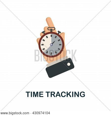 Time Tracking Flat Icon. Simple Sign From Logistics Collection. Creative Time Tracking Icon Illustra