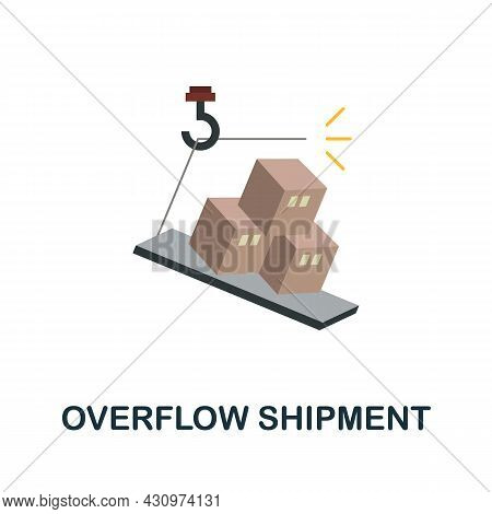 Overflow Shipment Flat Icon. Simple Sign From Logistics Collection. Creative Overflow Shipment Icon