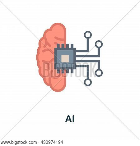 Ai Flat Icon. Colored Sign From Machine Learning Collection. Creative Ai Icon Illustration For Web D