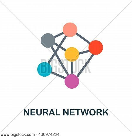 Neural Network Flat Icon. Colored Sign From Machine Learning Collection. Creative Neural Network Ico