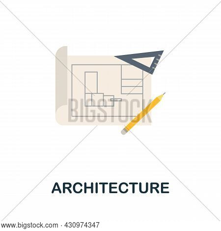 Architecture Flat Icon. Colored Sign From Machine Learning Collection. Creative Architecture Icon Il