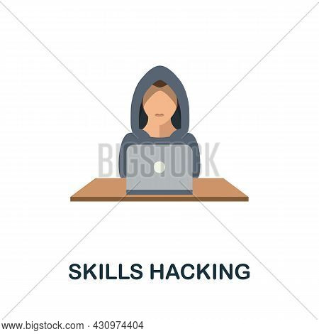 Skills Hacking Flat Icon. Colored Sign From Machine Learning Collection. Creative Skills Hacking Ico