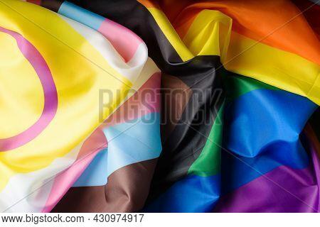 Lgbtqia + Flag, New International Symbol Of Community Different Gender Identities And Sexual Orienta