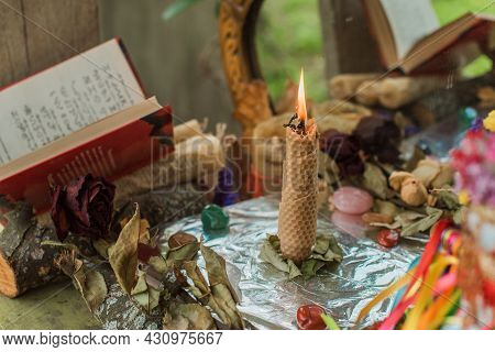 Magical Ritual With A Candle. Concept Of Paganism And Wicca, Slavic Magic