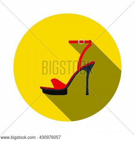 Woman High Heel Sandal Icon. Flat Circle Stencil Design With Long Shadow. Vector Illustration.