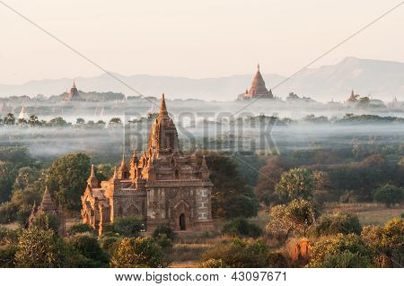 View from the Shwe Sandaw Pagoda during sunset in Bagan Myanmar poster