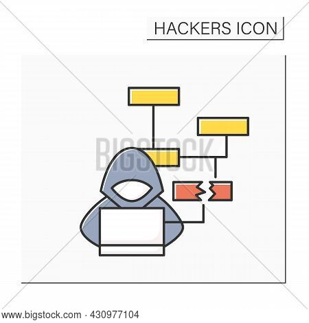 Hacker Color Icon. Website Attack Reusing Old Account Password Or Credentials. Concept Of Black Hat