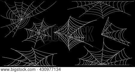 Set Of White Spider Web. Vector Halloween Symbol Isolated On Black Background