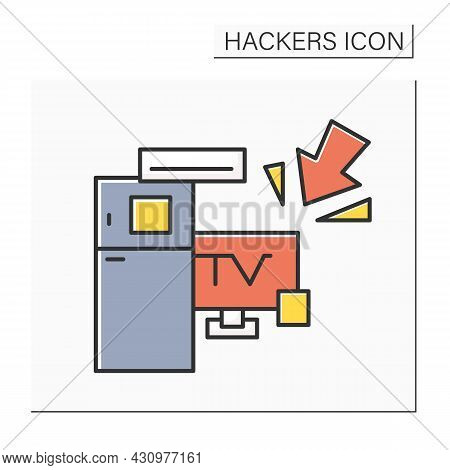 Smart Devices Hacking Color Icon. Smart Technology Home Devices Hacker Attack. Concept Of Internet O