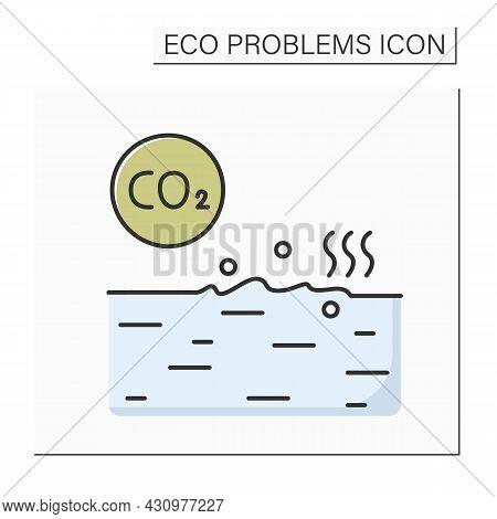 Ocean Co2 Pollution Color Icon. Water Resources Acidification. Environmental Danger, Global Ecosyste