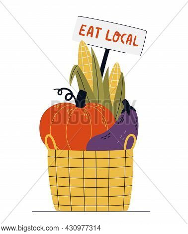 Eco-basket Full Of Vegetables Isolated On A White Background. Eat Local Or Farm Market Concept. Buy