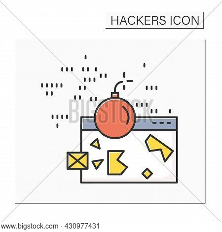 Ddos Attack Color Icon. Denial Of Service Web Site Hacker Attack Linear Pictogram. Concept Of Reques