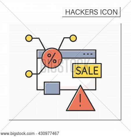 Bait Advertising Color Icon. Deceptive Web Banner Linear Pictogram. Concept Of Fake Sale Advertiseme