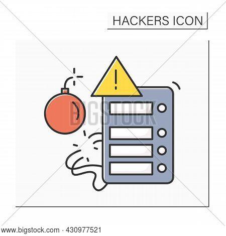 Broken Generator Color Icon. Denial Of Service Web Site Hacker Attack Linear Pictogram. Concept Of R