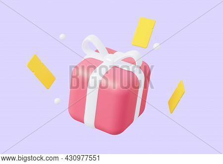 A Close-up Gift With Flying Coupons. It Can Be Used For Sales, Marketing And Advertising. 3d Renderi