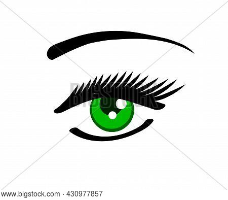 Long Eyelashes And Eyebrows. Eyelash Extension. Salon. Vector Illustration.