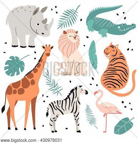 Cute Exotic Animals Set. Funny Crocodile, Zebra, Giraffe, Lion, Tiger, Flamingo, Hippopotamus. Hand