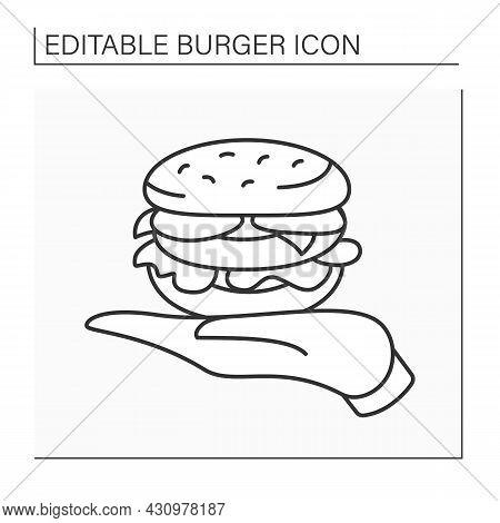 Sandwich Line Icon. Tasty Burger On Palm. Burger Presentation To Visitors. Popular Dish. Fast Food C