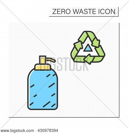 Soap Dispenser Color Icon. Ceramic Liquid Soap Bottle With Reusable. Concept Of Eco-friendly Househo