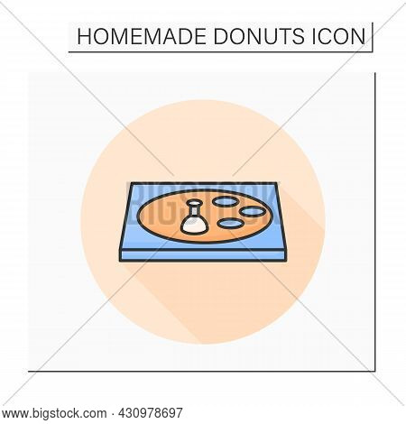 Dough Cutting Color Icon. Doughnut Cutter. Concept Of Classical American Ring Donuts Shape Forming A
