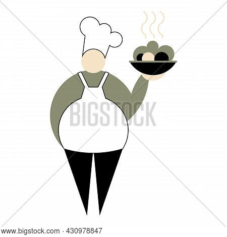Chef In Uniform And Kitchen Hat. Chief-cooker Holds Dish Of Delicious Fresh Food. Kitchener With Whi