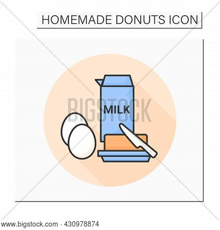 Eggs, Milk And Butter Color Icon. Dough Ingredients. Concept Of Traditional Breakfast Food, Donuts A