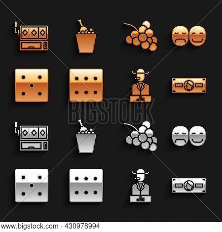 Set Game Dice, Poker Player, Stacks Paper Money Cash, Casino Slot Machine With Grape, Slot And Champ