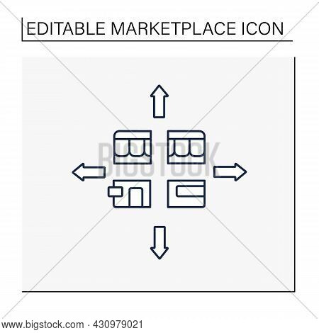 Marketplace Fragmentation Line Icon. Markets Diverse And Over Time Break Into Distinct Groups Of Cus