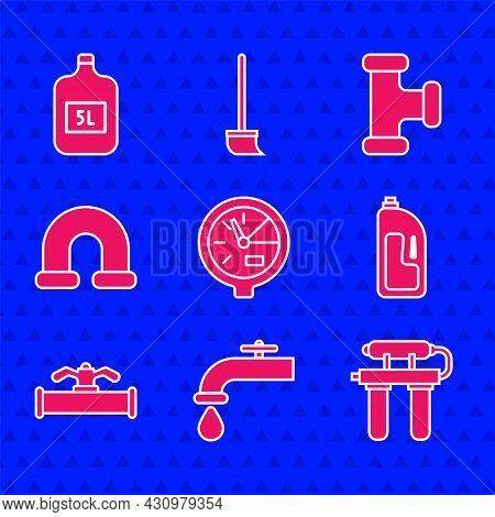 Set Water Meter, Tap, Filter, Container With Drain Cleaner, Industry Pipe And Valve, Metallic, And B