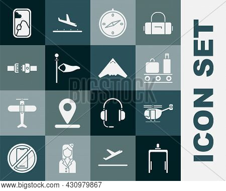 Set Metal Detector In Airport, Helicopter, Airport Conveyor Belt With Suitcase, Compass, Cone Meteor