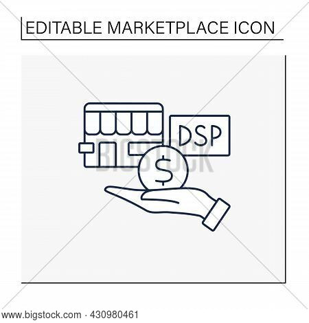 Demand Side Line Icon. Buying Product Or Service. Hand Giving Money For Quality Goods To Store.marke