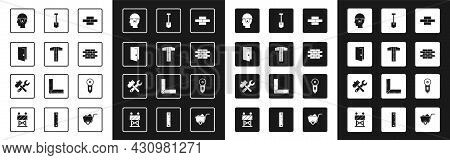 Set Bricks, T-square Line, Closed Door, Worker Safety Helmet, Shovel, Angle Grinder And Hammer And W