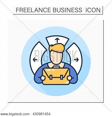 Diversified Worker Color Icon. Freelancer With A Briefcase.freelance Skills.isolated Vector Illustra